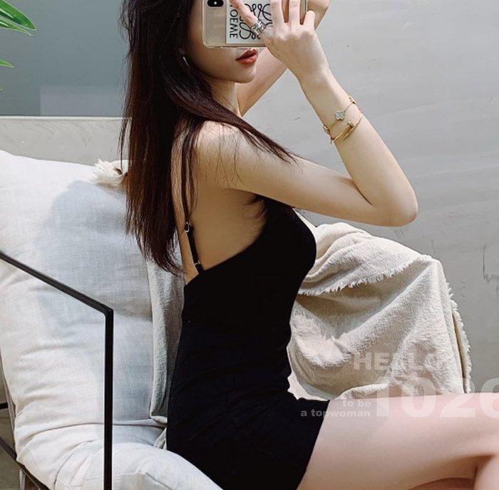 ++1026++歐美名媛款 西裝棉質混紡 細肩吊帶黑色背心裙 合身包臀貼臀高腰連身窄裙 性感挖背美背 大露背削肩短洋裝
