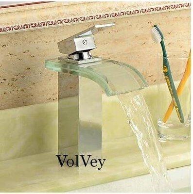 【優上精品】Volvey 全銅玻璃冷熱黑面盆龍頭 台下盆龍頭 瀑布冷熱水龍頭(Z-P3094)