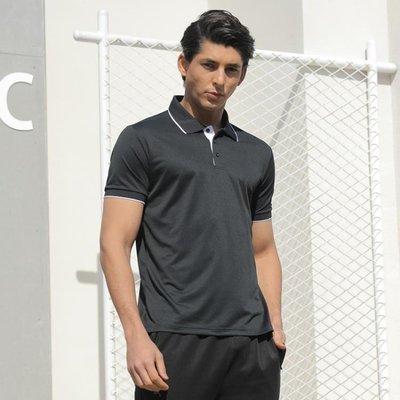中大尺碼運動T恤男士跑步休閒衣舒適透氣寬鬆排汗翻領短袖速干polo衫 js6297