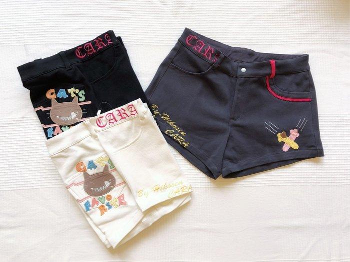 日本卡拉貓~CARA貓咪彈性牛仔短褲 M