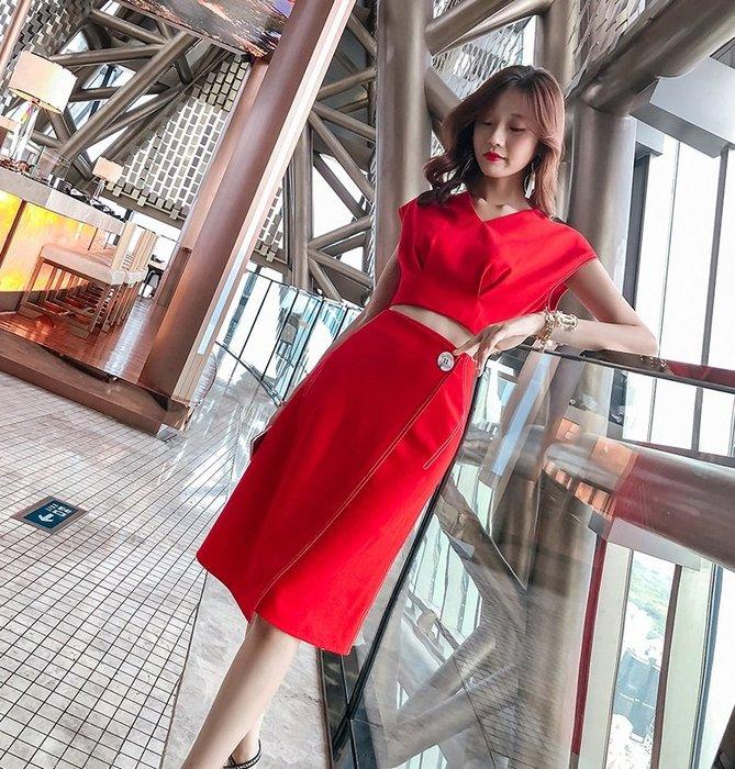短袖及膝窄裙套裝大紅色落肩蝙蝠袖席西窄裙套裝許願魔鏡@wishing Mirror-*-TL13166