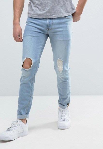 ◎美國代買◎ASOS 單膝破洞刷破頹廢風設計英倫街風淺藍色可反摺褲口合身牛仔褲~歐美街風~大尺碼~