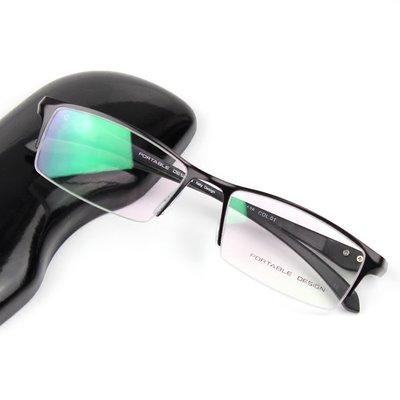 正品 男士半框眼镜架 金属合金眼镜框 TR90镜腿