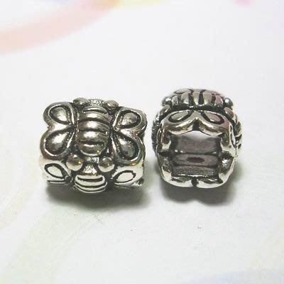 琥珀貓~【925純銀材料配件】造型方珠~N9498~蝴蝶~一個