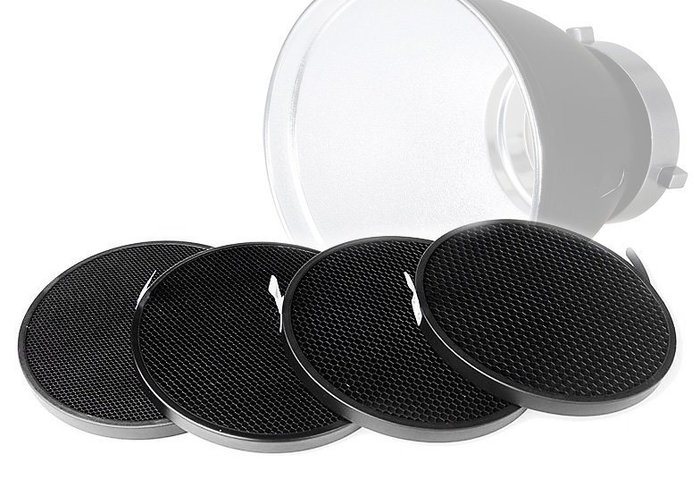 """呈現攝影-Phottix Pro 7"""" 蜂巢網格套裝4片 30 40 50 60度 18cm標準罩用 棚燈"""