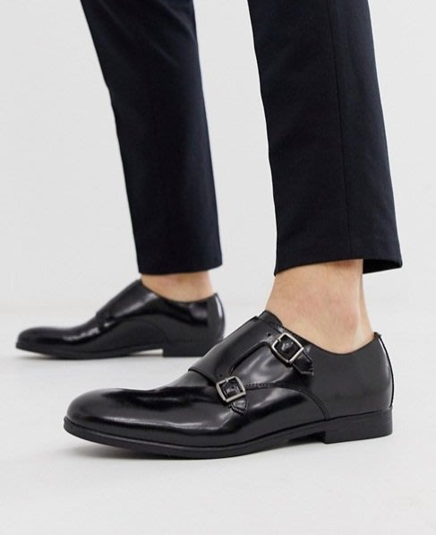◎美國代買◎ASOS雙皮扣皮蓋鞋面英倫雅痞時尚街風無鞋帶和尚款雙皮扣皮蓋皮鞋~歐美街風~大尺碼