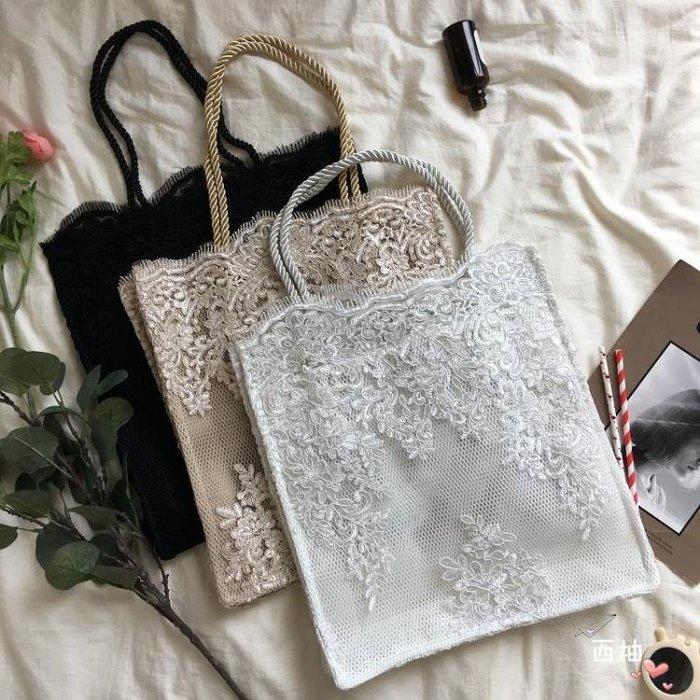 托特包2018秋冬蕾絲包輕復古單肩手提女包購物袋托特包時尚迷你小包