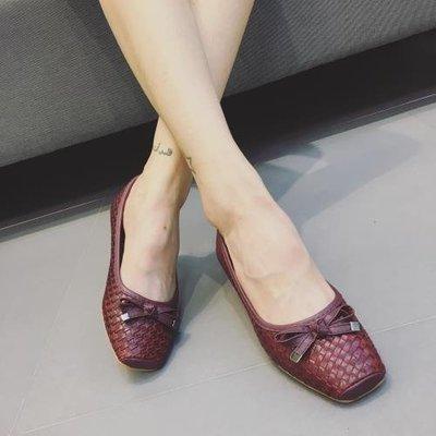 〥KVLOVE SHOP〥外單 時尚編織設計蝴蝶結舒適柔軟豆豆鞋 3色〥特價