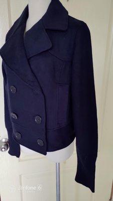 [99go] 日本專櫃 vert dense 黑色棉布 短版風衣領外套 M號