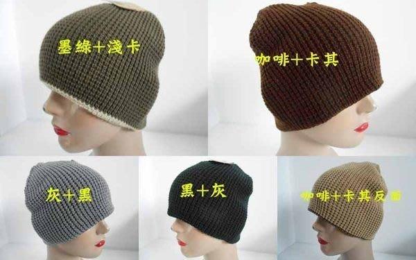 //阿寄帽舖// #5557 粗織雙面男女可載掩耳圓帽!!(長22公分.寬21公分).