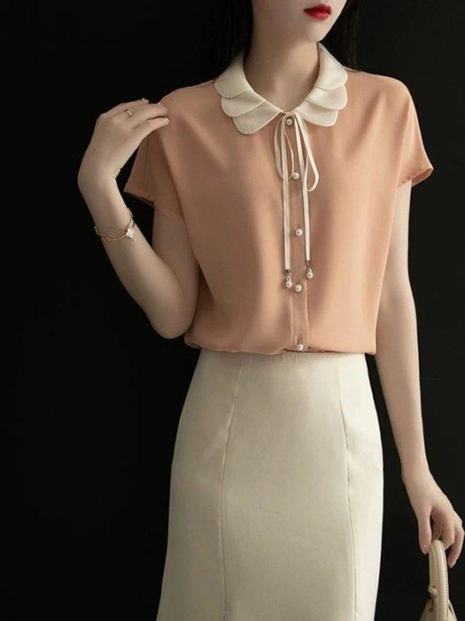 細緻花瓣領設計短袖襯衫上衣