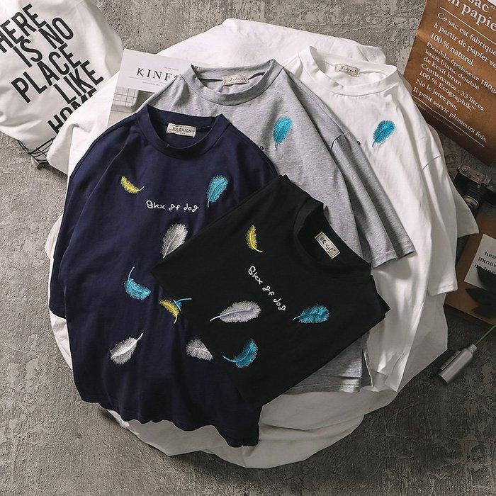 T恤 夏季男士短袖t恤韓版圓領七分袖寬鬆打底衫體恤學生衣服潮流上衣