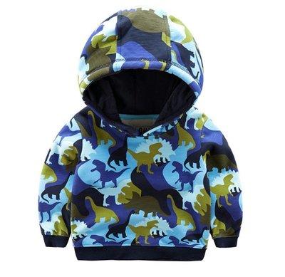 【Mr. Soar】G430 冬季新款 歐美style童裝男童迷彩恐龍加絨長袖上衣帽T 現貨