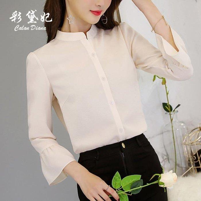時尚大碼顯瘦純色上衣百搭休閒潮流女裝襯衫