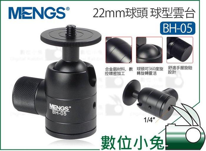 數位小兔【MENGS 22mm球頭 球型雲台】360度 1/4 螺牙 小雲台 迷你雲台 相機 腳架