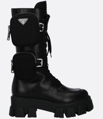 【最低折扣】Prada Monolith 皮革短靴附尼龍配袋 IT35/35.5/36/36.5/37/37.5/38