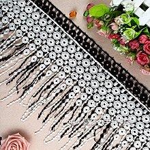 『ღIAsa 愛莎ღ手作雜貨』花邊輔料蕾絲優質滌光刺繡流蘇服裝衣裙下擺DIY裝飾布料寬23cm