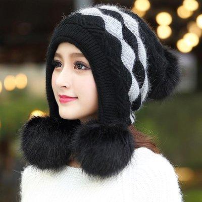 帽子女秋冬天雙層加厚針織毛線帽學生