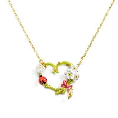 ♡歐日美加 LuLu代購♡ Les Nereides 春暖花開系列 琺瑯玫瑰心型圈 嫩綠心型小白花朵 瓢蟲珍珠項鍊