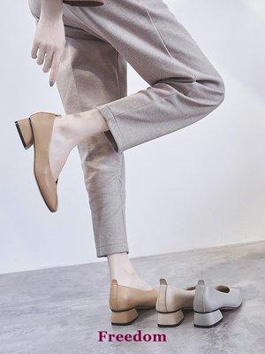 Freedom女鞋2019春季新款小皮鞋女正韓百搭方頭豆豆鞋瑪麗珍復古中粗跟樂福鞋