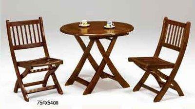 【南洋風休閒傢俱】典雅餐桌椅系列 –CY-280圓形折合桌 實木巧思椅 木質餐桌組 (730-9)