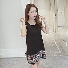 潮民族風A字短裙子無袖連衣裙(黑色) J-12651