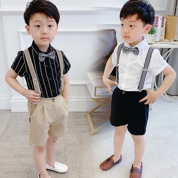 莎芭 男童套裝 兒童套裝短袖襯衫+背帶短褲兩件套 兒童演出服 韓版走秀服裝 花童禮服90-150cm
