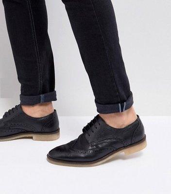 ◎美國代買◎ASOS巴洛克雕花鞋面搭配橡膠鞋底英倫雅痞休閒風巴洛克膠底鞋帶皮鞋~歐美街風~大尺碼~