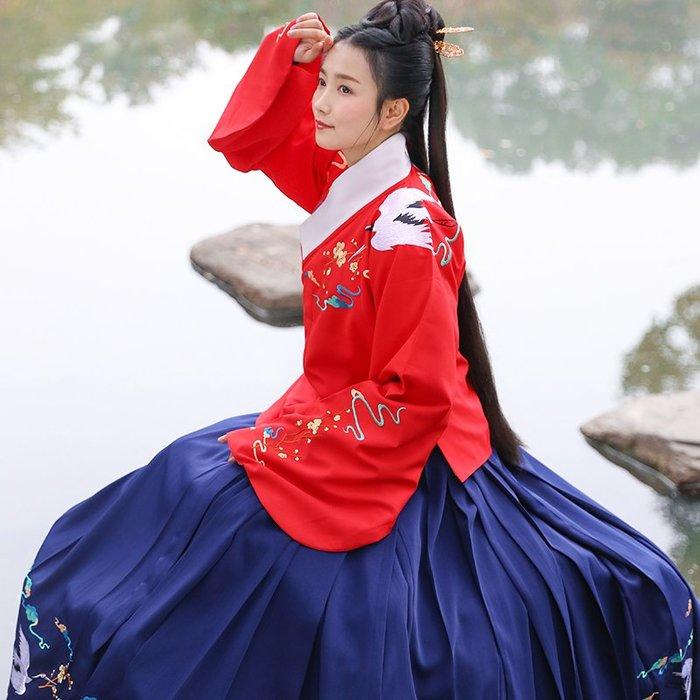 瑞鶴仙 原創漢服女繡花明制襖裙日常傳統春裝單品非古裝