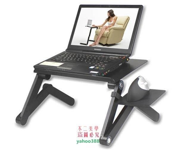 美學79鋁合金帶風扇散熱筆記本電腦桌 折疊桌 床上電腦桌 懶人電腦桌 筆❖8314