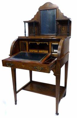 【家與收藏】特價稀有珍藏歐洲百年古董英國19世紀古典優雅黑檀木精緻手工inlaid鑲嵌仕女寫字桌/櫃