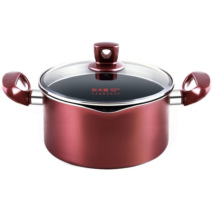 預售款-LKQJD-不粘鍋湯鍋家用雙耳電磁爐煲湯鍋煮粥火鍋鍋具煮面鍋燃氣灶
