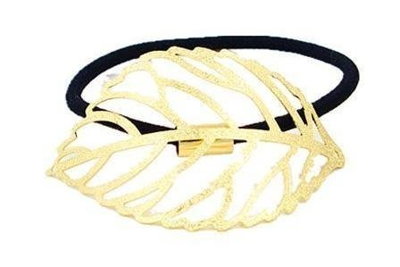 ~Mimi飾品~ 浪漫甜美~典雅希臘女神款金色縷空樹葉~髮束 馬尾束~109元