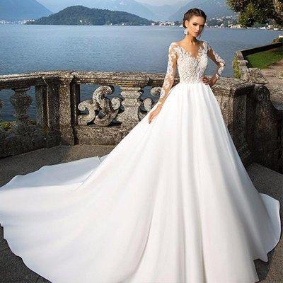新年婚禮禮服婚紗禮服宴會禮服華貴典雅奢華緞面新娘冬季冬天長袖大拖尾婚紗禮服