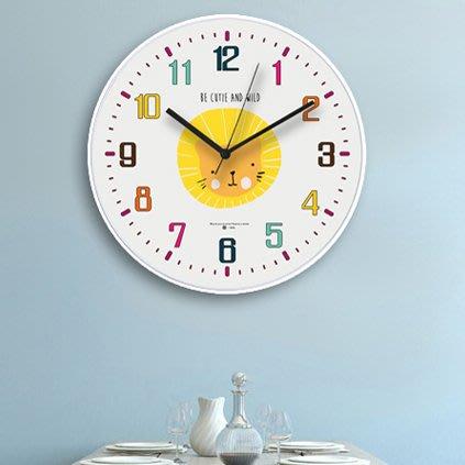 掛鐘 北歐動物掛鐘兒童卡通靜音鐘錶現代簡約客廳創意鐘錶家用時鐘壁鐘