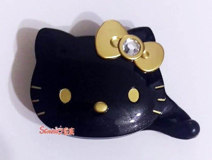 《東京家族》台灣製 HELLO KITTY 造型黑色鑲鑽金蝴蝶結髮夾髮飾相交夾 盒裝