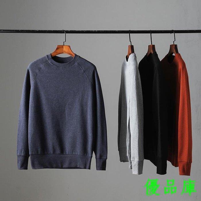 優品庫外貿原單 男士日系正韓簡約款純色休閒百搭圓領套頭衛衣