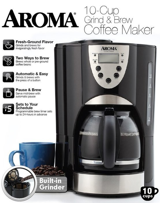 AROMA 自動磨豆 美式咖啡機玻璃咖啡壺 (ACM-900GB)