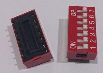 ►566◄指撥開關 撥碼開關 7位元 14腳 DIP平型 直插 2.54MM間距 紅色 編碼開關