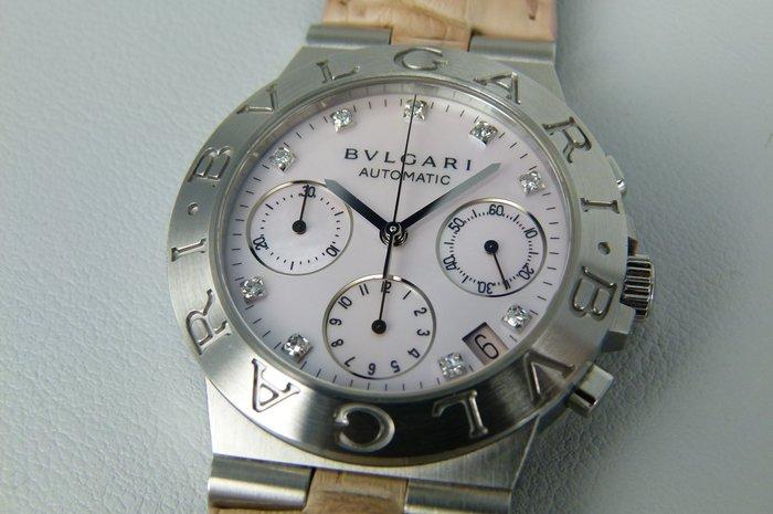 【時間迴廊】BVLGARI寶格麗 Diagono-CH35S(35mm)原鑲9鑽-自動上鍊機械腕錶(附原廠盒+保證書)