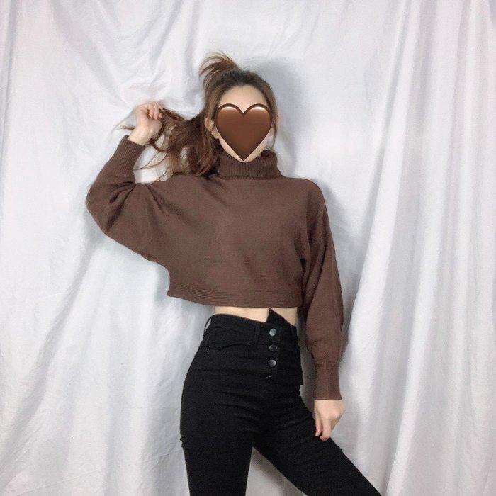 4色現+預/實拍【JinG】韓國同款♥️純色簡約短版高領毛衣 針織衫 長袖上衣 套頭毛衣 針織上衣