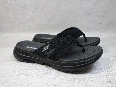 [麥修斯]SKECHERS ON-THE-GOGO WALK 5 夾腳拖 拖鞋 休閒氣墊 黑 女款 140085BKGY