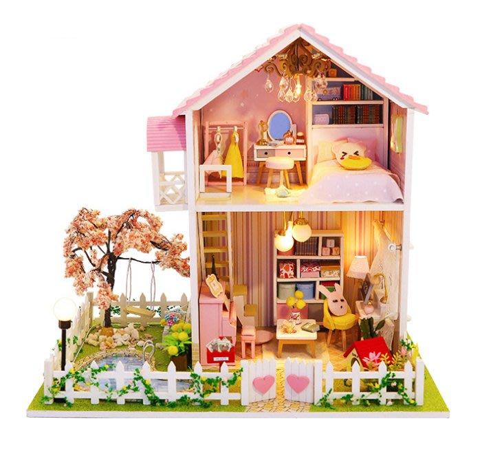 【批貨達人】櫻花樹之戀 手工拼裝 手作DIY小屋袖珍屋 帶防塵罩 迷你屋 創意小物生日禮物