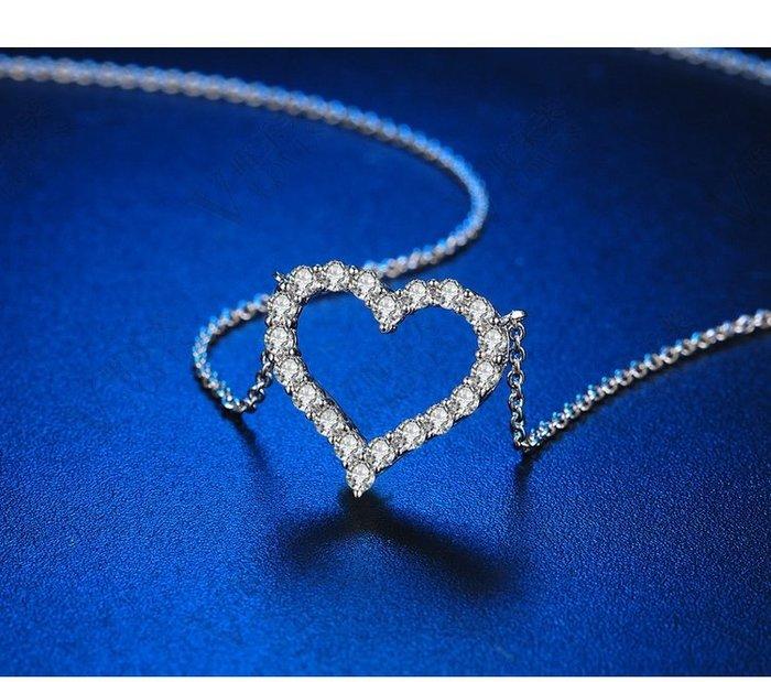 LUCKY247-正品莫桑石1克拉時尚心形鏤空女吊墜項鏈