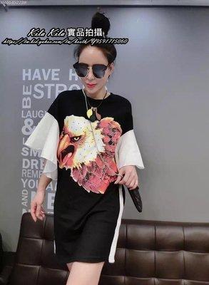 ♥kila kila♥2016歐貨自留款 兩色 美國老鷹燙鑽荷葉袖裙短袖T恤上衣長版洋裝 實拍