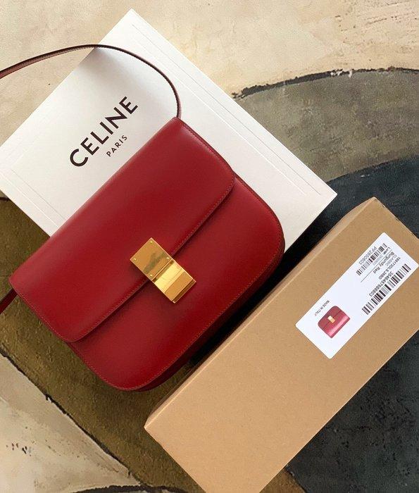 Melia 米莉亞代購 19ss Celine 復古銅釦 肩背斜背包 小方包 晚宴包 大容量 別錯過 紅色