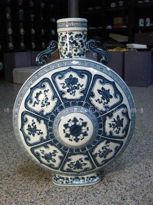 【傳播青花瓷文化】景德鎮-手工手繪青花八寶吉祥紋月光瓶(高約36cm)