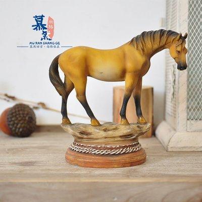 宏美飾品館~外貿鄉村戰馬馬兒場景擺件裝飾品孤品
