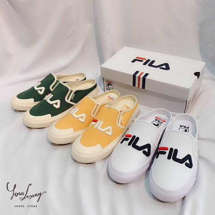【Luxury】FILA Classic Kicks Mule 半截式懶人半拖鞋 帆布 刺繡款 五色 黑白黃綠粉