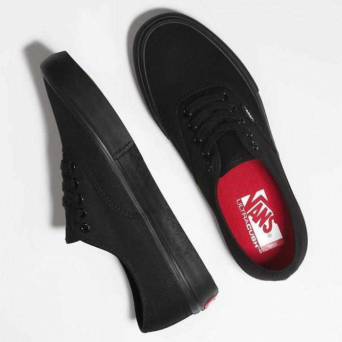 CHIEF' VANS 美版 AUTHENTIC PRO 全黑色 帆布 薄邊 舒適百搭 緩衝鞋墊 sz4.5~12 男女